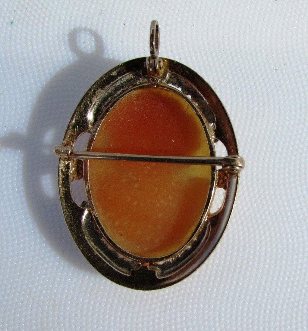 CAMEO PIN PENDANT 10K GOLD  CARVED SHELL 4.3GRAMS - 3