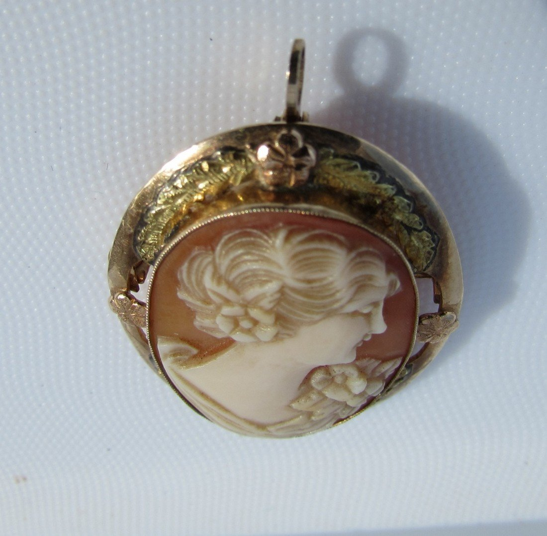 CAMEO PIN PENDANT 10K GOLD  CARVED SHELL 4.3GRAMS - 4
