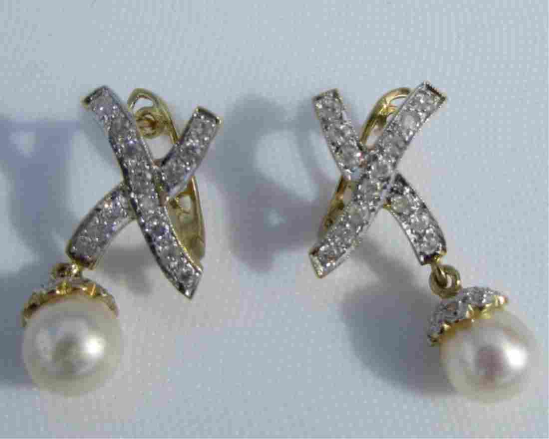 .25CT DIAMOND PEARL EARRINGS 14K GOLD 5 GRAMS
