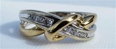 25CT DIAMOND RING 14k GOLD CROSSOVER BAND 38 g