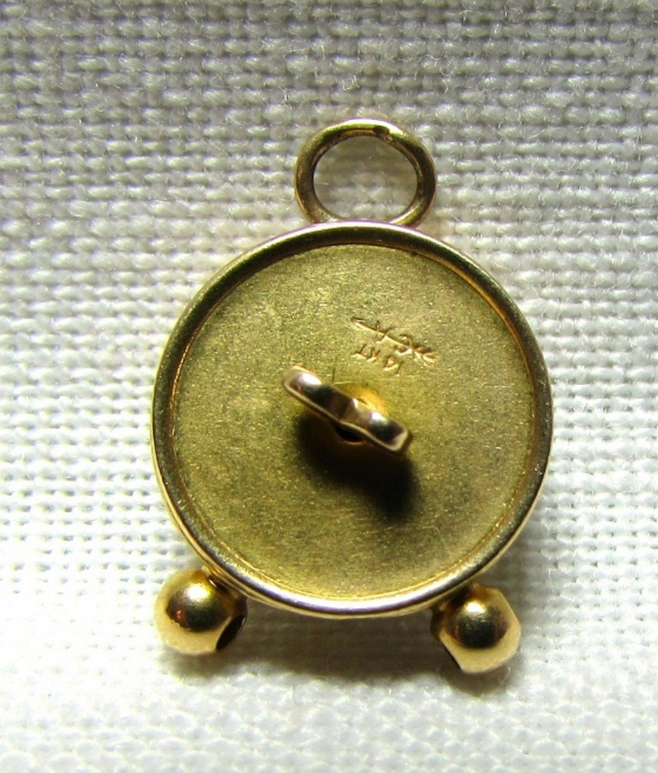 14k GOLD CLOCK CHARM MOVABLE HANDS REMINDER TIME - 4
