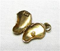 14K GOLD OYSTER SHELL PEARL CHARM MOVABLE 2 GRAMS