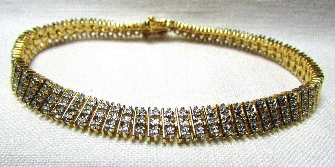 GENUINE DIAMOND GOLD ON STERLING SILVER BRACELET - 2