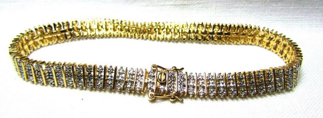 GENUINE DIAMOND GOLD ON STERLING SILVER BRACELET - 3