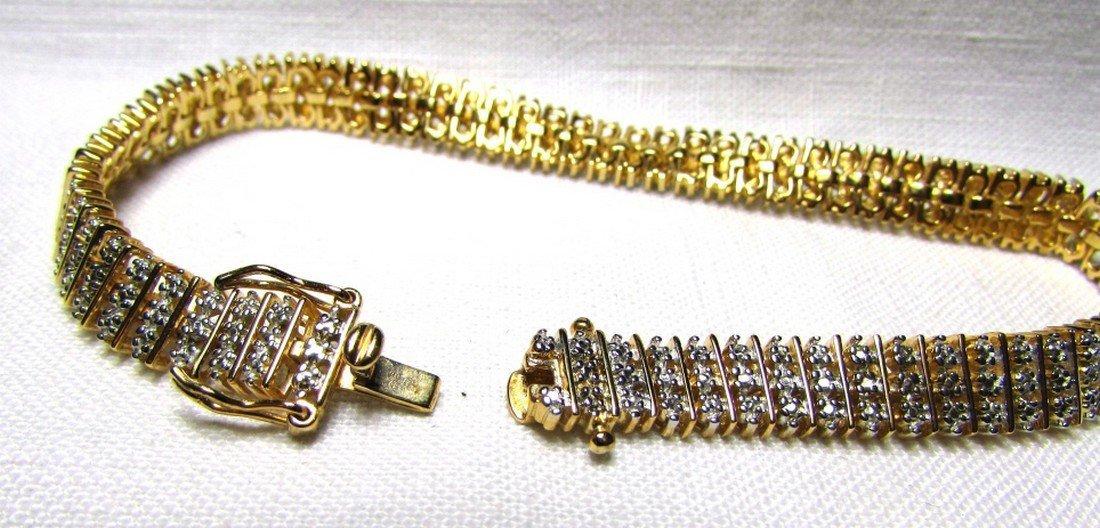 GENUINE DIAMOND GOLD ON STERLING SILVER BRACELET - 4