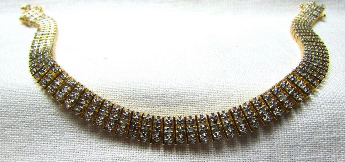 GENUINE DIAMOND GOLD ON STERLING SILVER BRACELET - 5