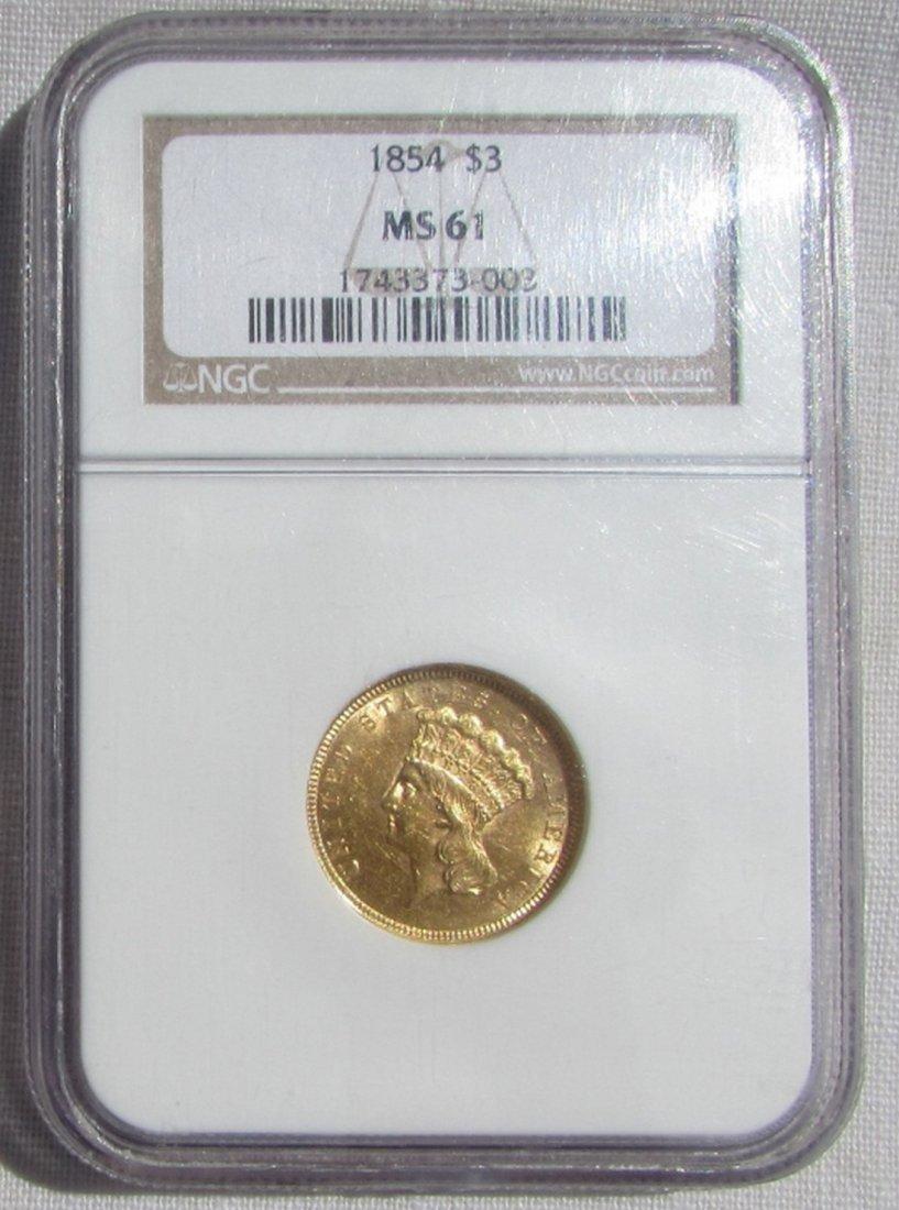 1854 $3 US GOLD COIN NGC MS 61 INDIAN PRINCESS