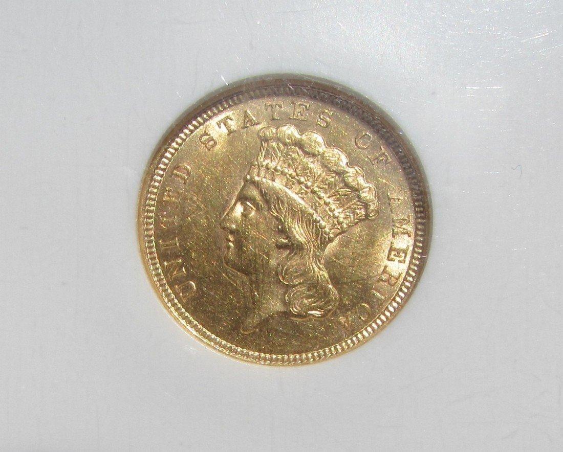 1854 $3 US GOLD COIN NGC MS 61 INDIAN PRINCESS - 2
