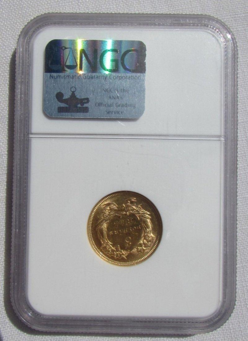 1854 $3 US GOLD COIN NGC MS 61 INDIAN PRINCESS - 3