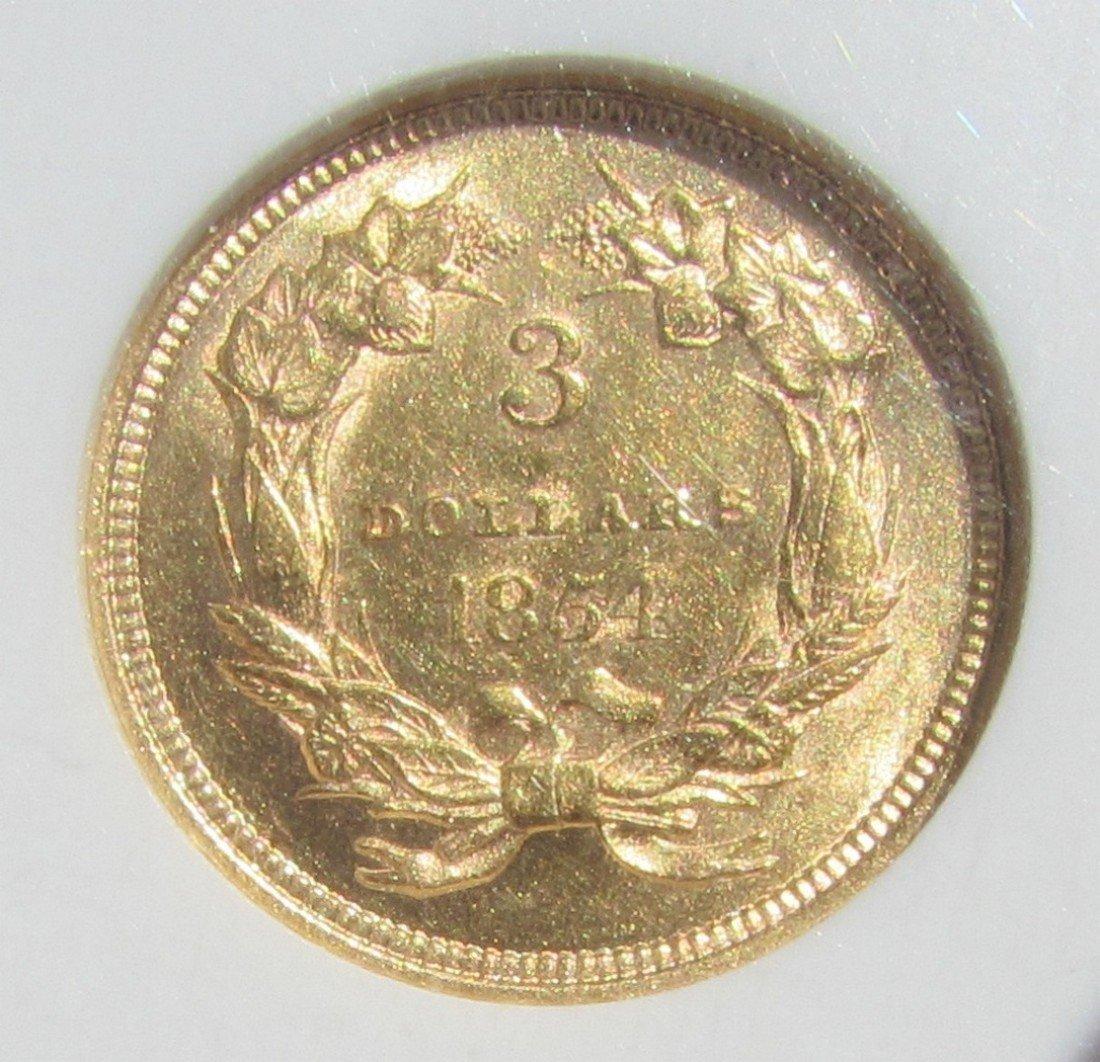1854 $3 US GOLD COIN NGC MS 61 INDIAN PRINCESS - 4