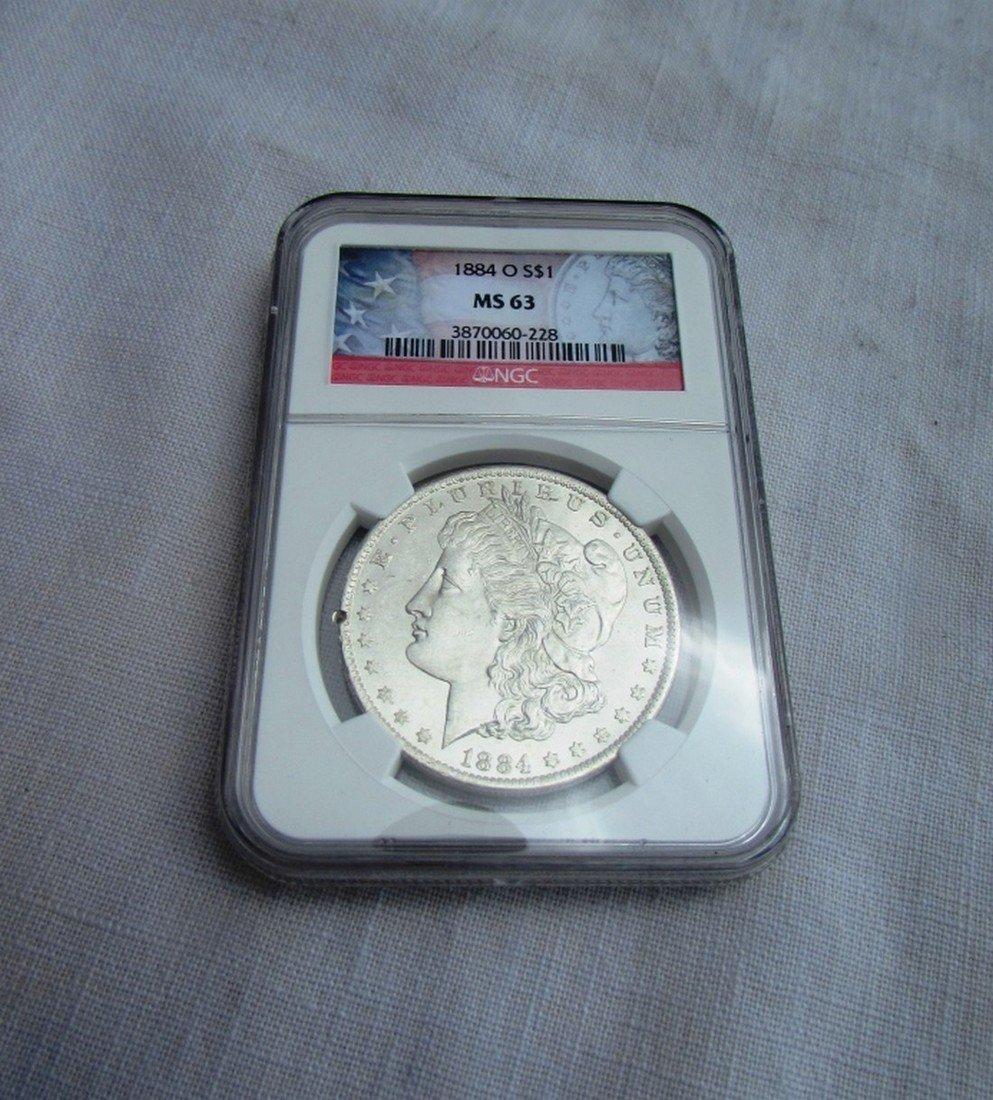 1884 O MORGAN SILVER DOLLAR MS63 NGC UNC $1