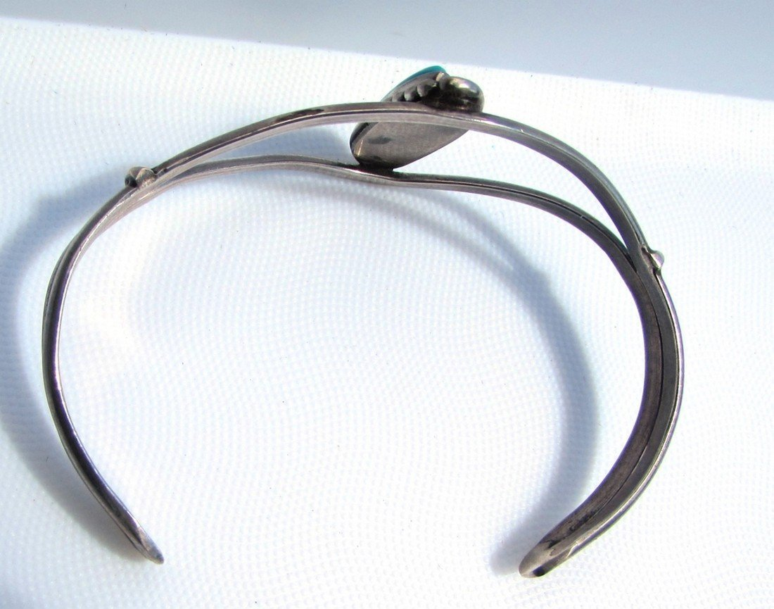 TURQUOISE STERLING SILVER CUFF BRACELET - 3