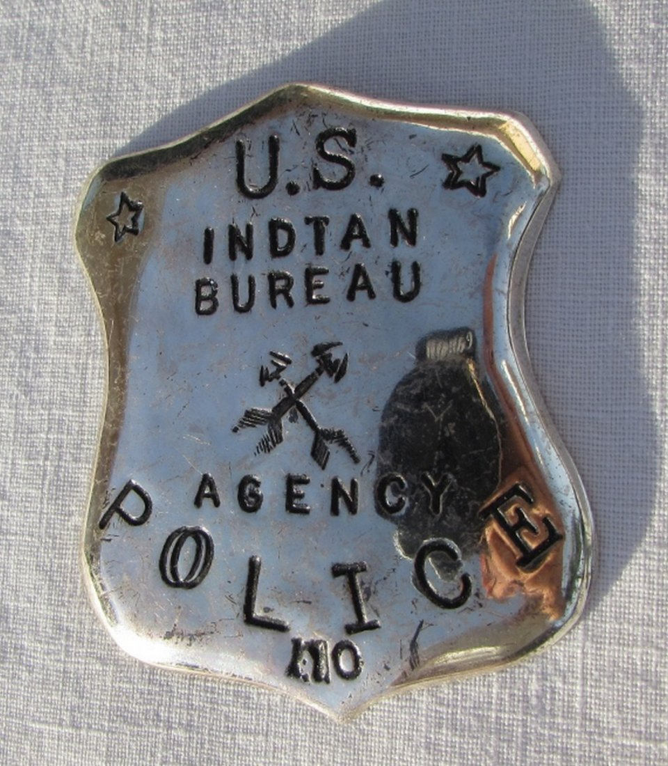 US STERLING SILVER INDIAN BUREAU POLICE BADGE