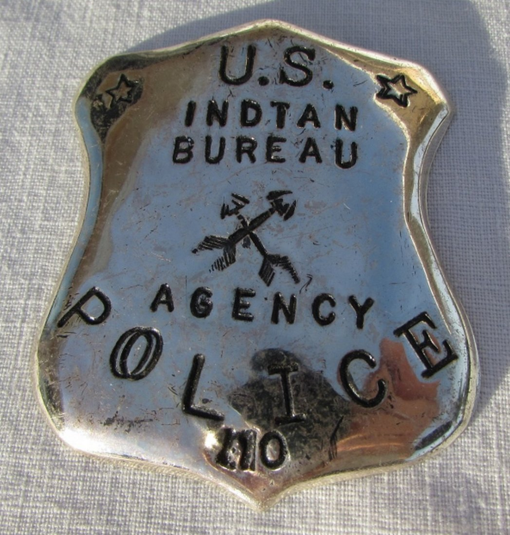 US STERLING SILVER INDIAN BUREAU POLICE BADGE - 5