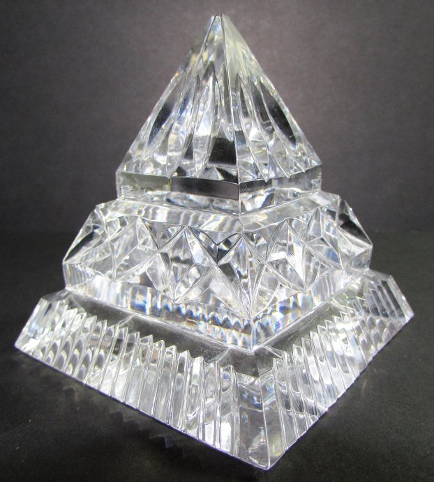 WATERFORD CRYSTAL PYRAMID PAPERWEIGHT SIGNED
