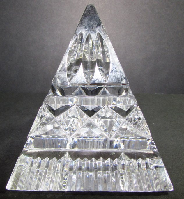 WATERFORD CRYSTAL PYRAMID PAPERWEIGHT SIGNED - 2