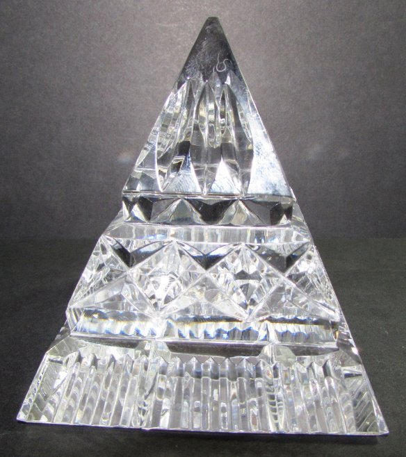 WATERFORD CRYSTAL PYRAMID PAPERWEIGHT SIGNED - 3