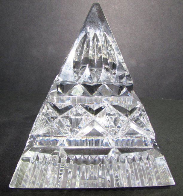 WATERFORD CRYSTAL PYRAMID PAPERWEIGHT SIGNED - 4