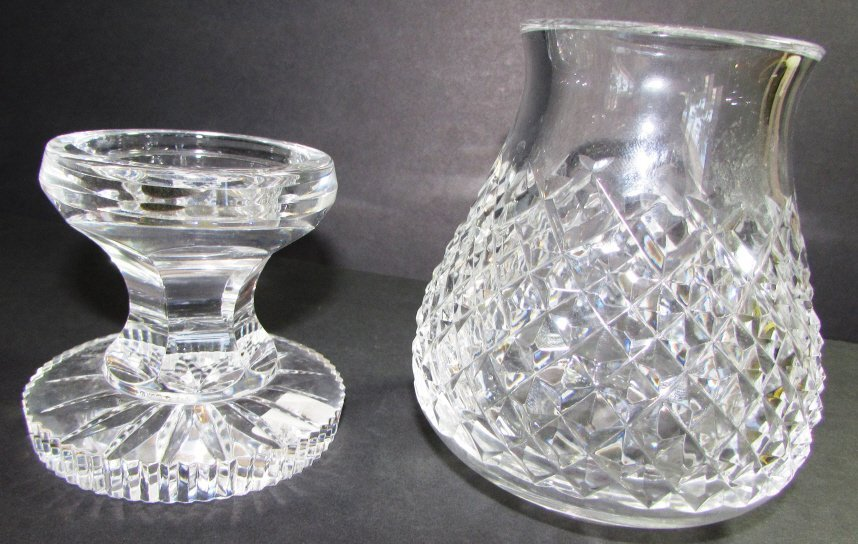 WATERFORD CRYSTAL HURRICANE LAMP  ALANA VOTIVE 2PC - 2