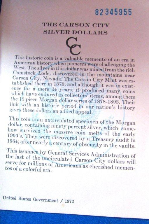 1881 CARSON CITY GSA SILVER DOLLAR CC UNC MORGAN - 5