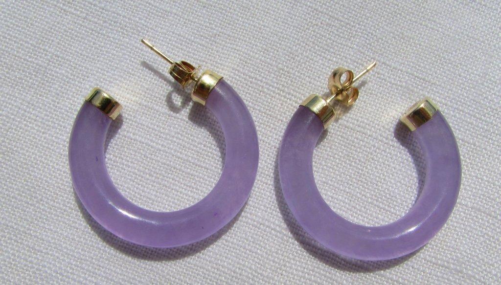 14k GOLD JADE EARRINGS LAVENDER VITREOUS TRANSLUCE - 2