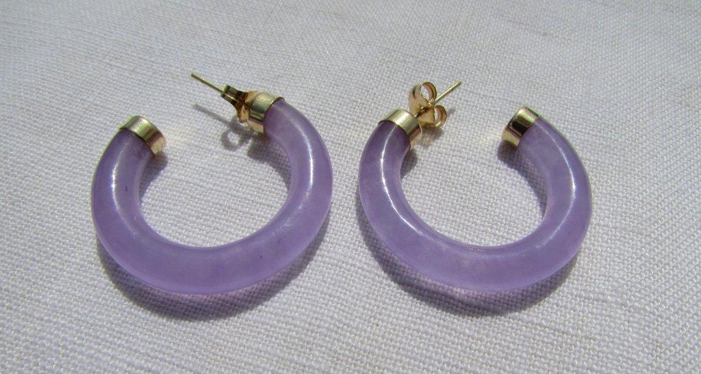 14k GOLD JADE EARRINGS LAVENDER VITREOUS TRANSLUCE - 3