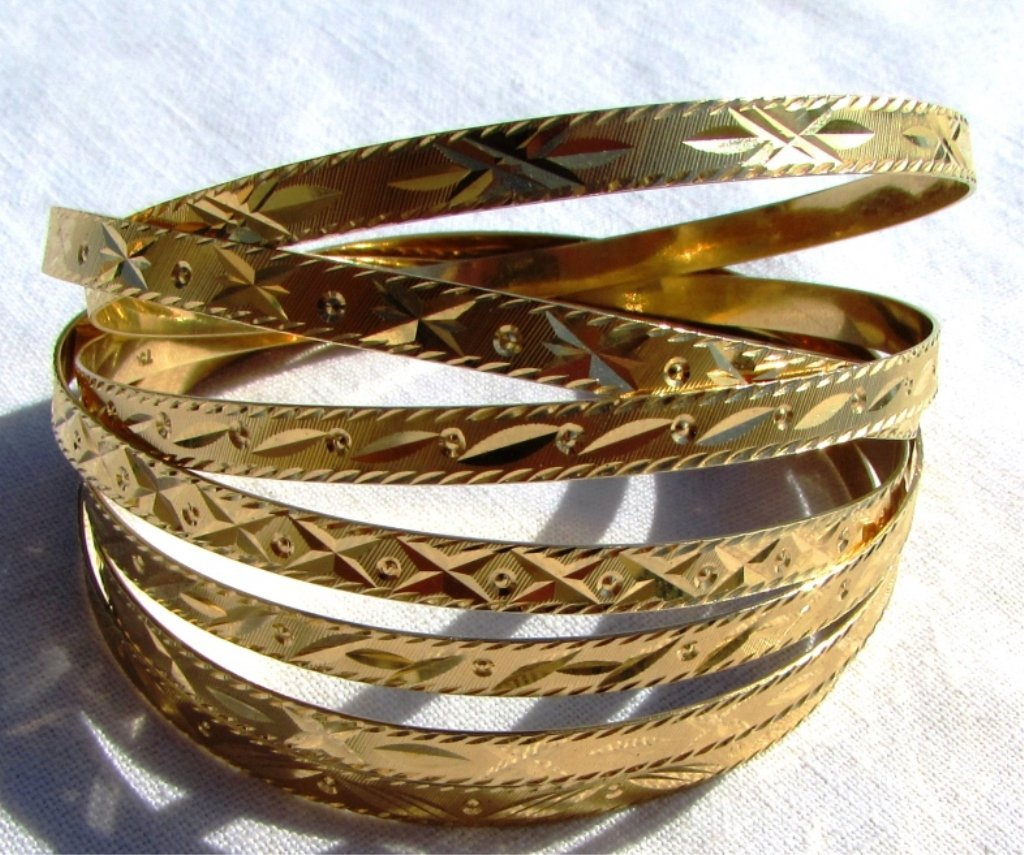 SEVEN 18k GOLD BRACELETS BANGLES SEMANARIOS 47.9GR