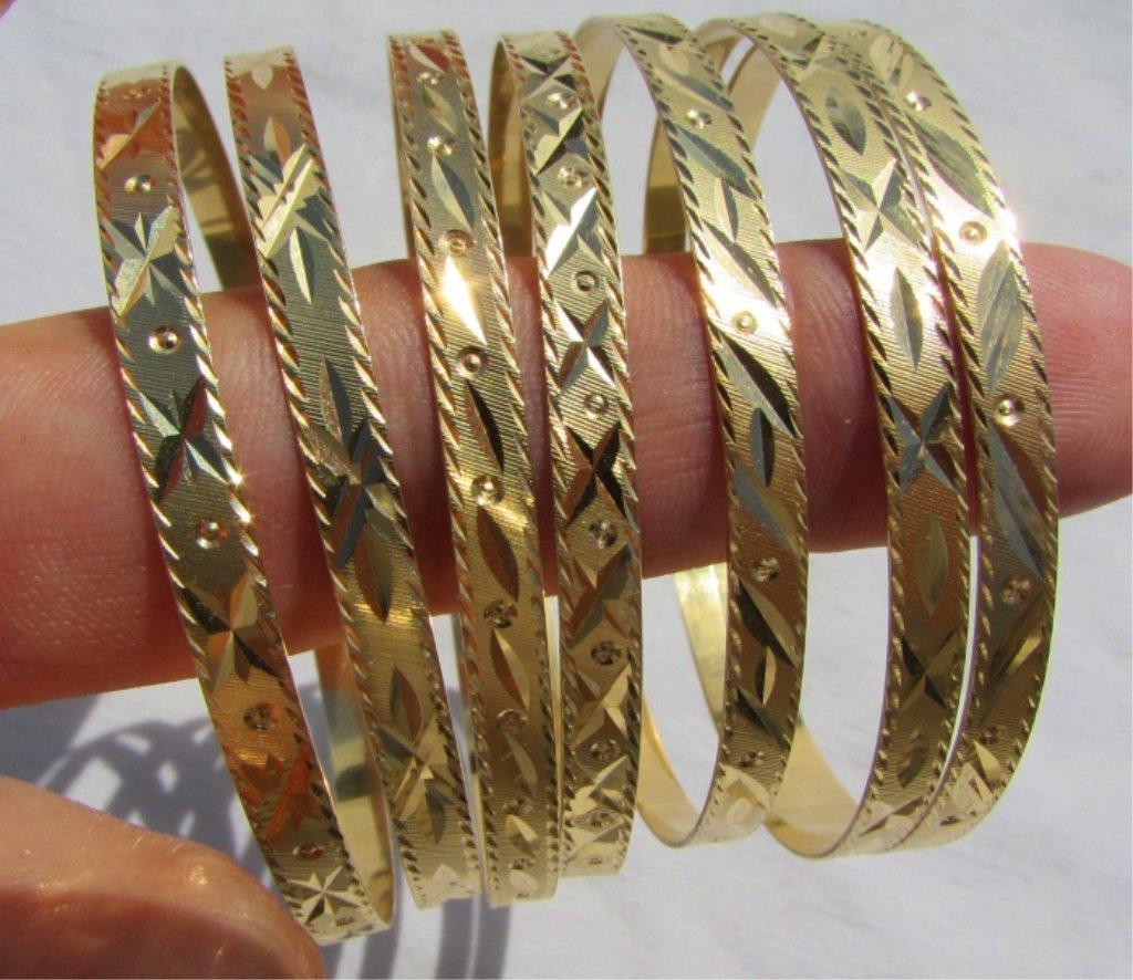 SEVEN 18k GOLD BRACELETS BANGLES SEMANARIOS 47.9GR - 4
