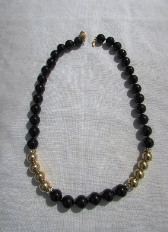 ONYX 14k GOLD BEAD NECKLACE - 2