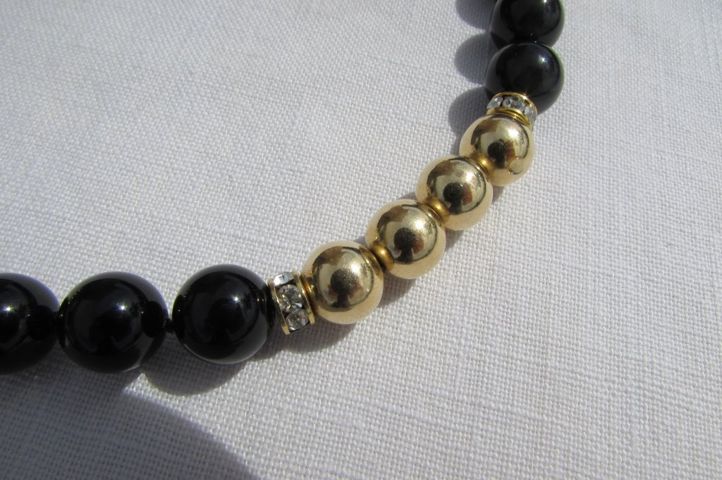 ONYX 14k GOLD BEAD NECKLACE - 3