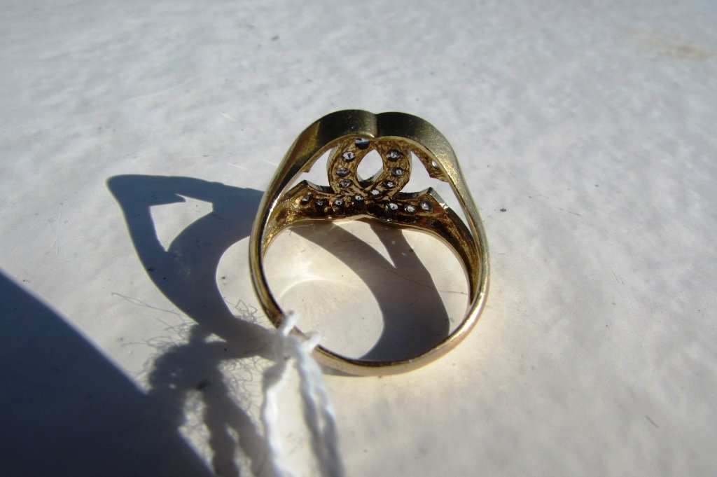 10k GOLD RING CHANEL STYLE 3.7 g CZ - 5