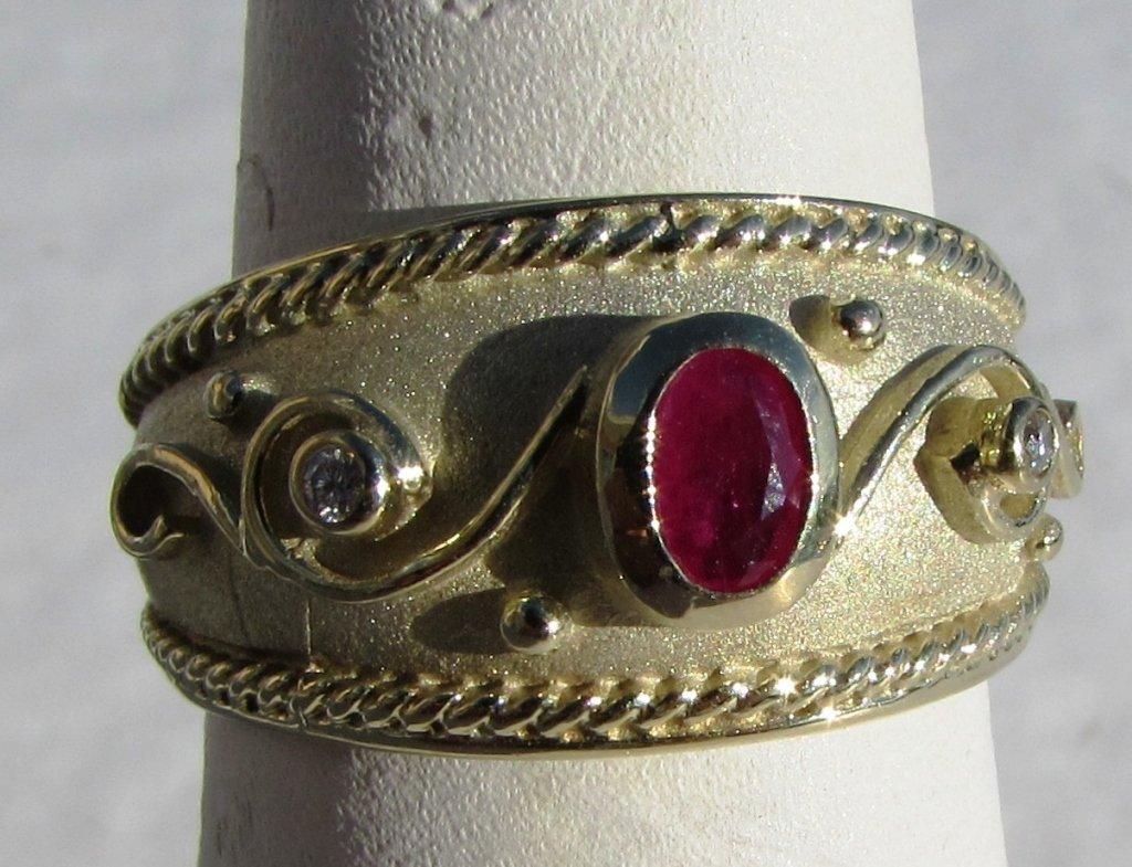 RUBY DIAMOND 14k GOLD RING ETRUSCAN SIGNED IJM