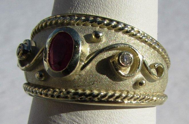 RUBY DIAMOND 14k GOLD RING ETRUSCAN SIGNED IJM - 2