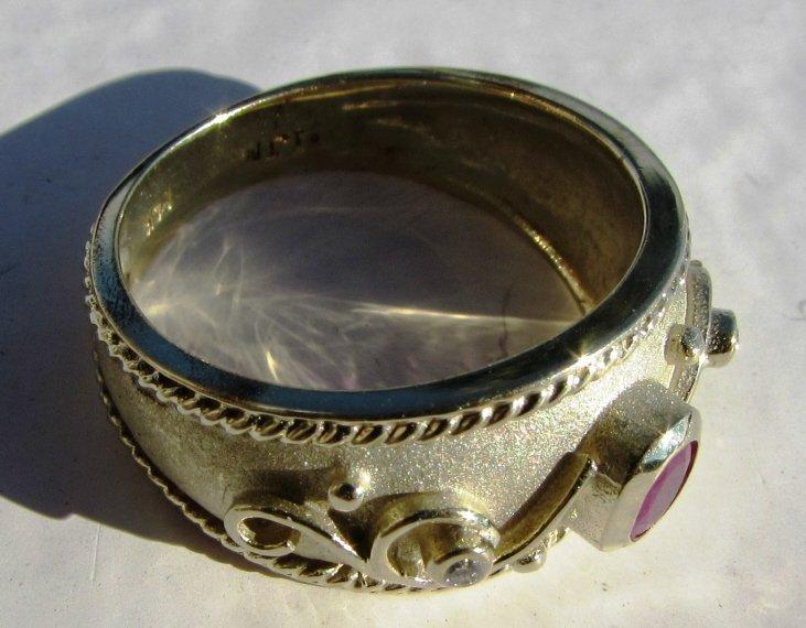 RUBY DIAMOND 14k GOLD RING ETRUSCAN SIGNED IJM - 4