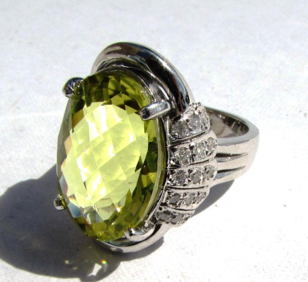 12.82CT LIME TOPAZ 14k GOLD DIAMOND RING RTL$5599