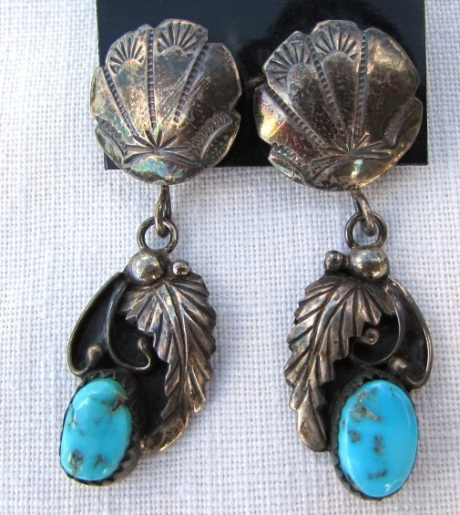 JUAN GUERRO EARRINGS TURQUOISE STERLING SILVER