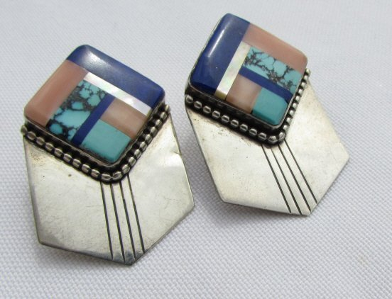 CORAL TURQUOISE LAPIS STERLING SILVER EARRINGS