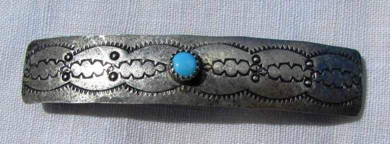 STERLING SILVER TURQUOISE NATIVE HAIR CLIP 7.9 g