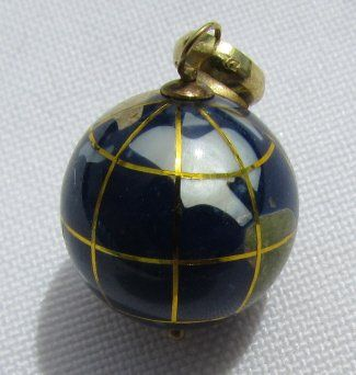 14K GOLD GLOBE PENDANT NECKLACE CHARM WORLD