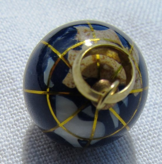 14K GOLD GLOBE PENDANT NECKLACE CHARM WORLD - 3