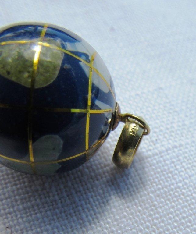 14K GOLD GLOBE PENDANT NECKLACE CHARM WORLD - 5