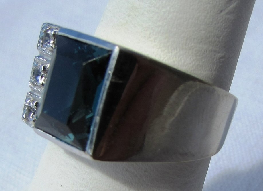 DIAMOND TOPAZ RING 10K GOLD 6.5 GRAMS SIZE 8 - 3