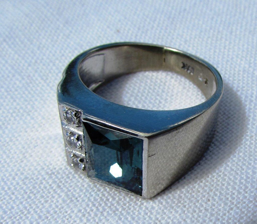 DIAMOND TOPAZ RING 10K GOLD 6.5 GRAMS SIZE 8 - 4