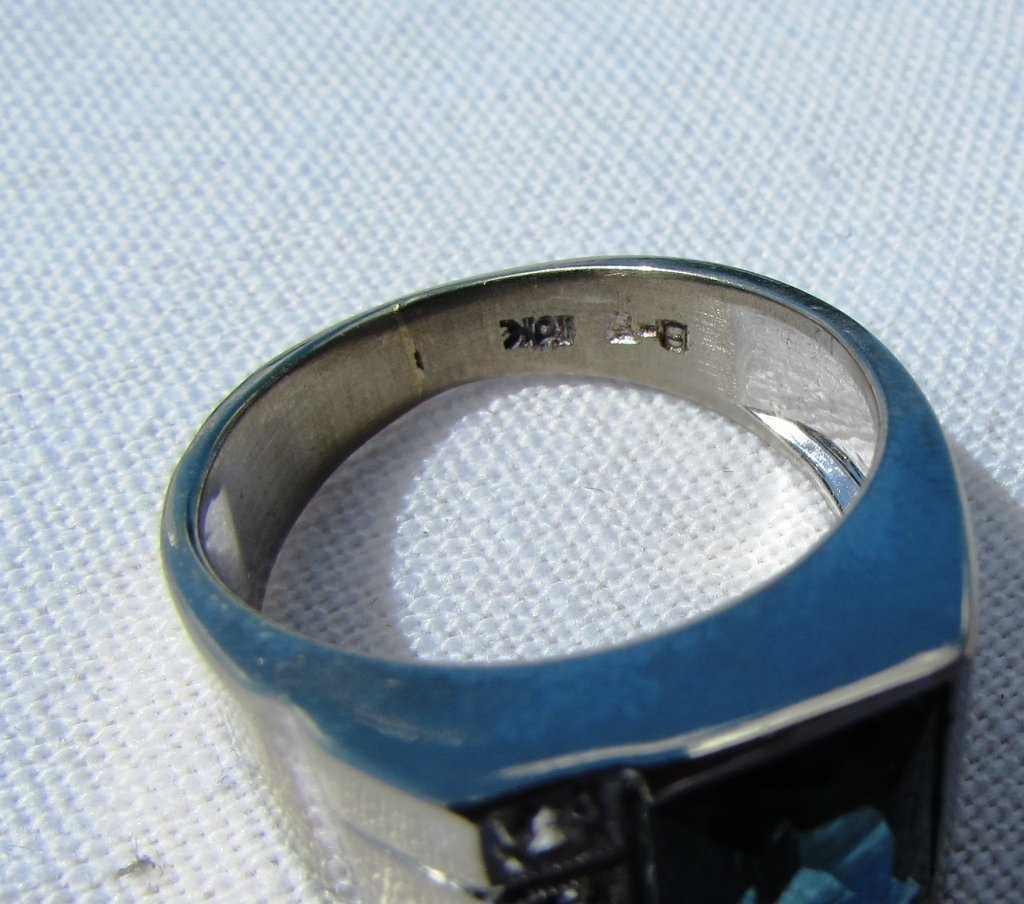 DIAMOND TOPAZ RING 10K GOLD 6.5 GRAMS SIZE 8 - 6