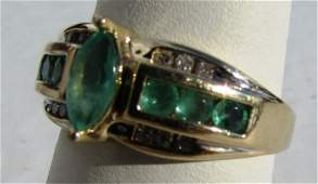 1CT EMERALD DIAMOND 14k GOLD RING 4 GRAM SIZE 7.5