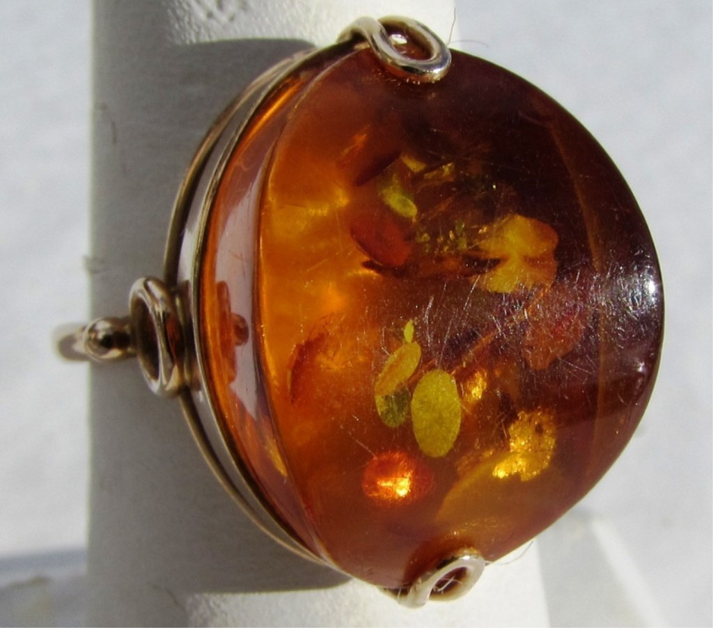 RUSSIAN AMBER 14k GOLD 583 RING SIZE 8.5 5.2 GRAMS
