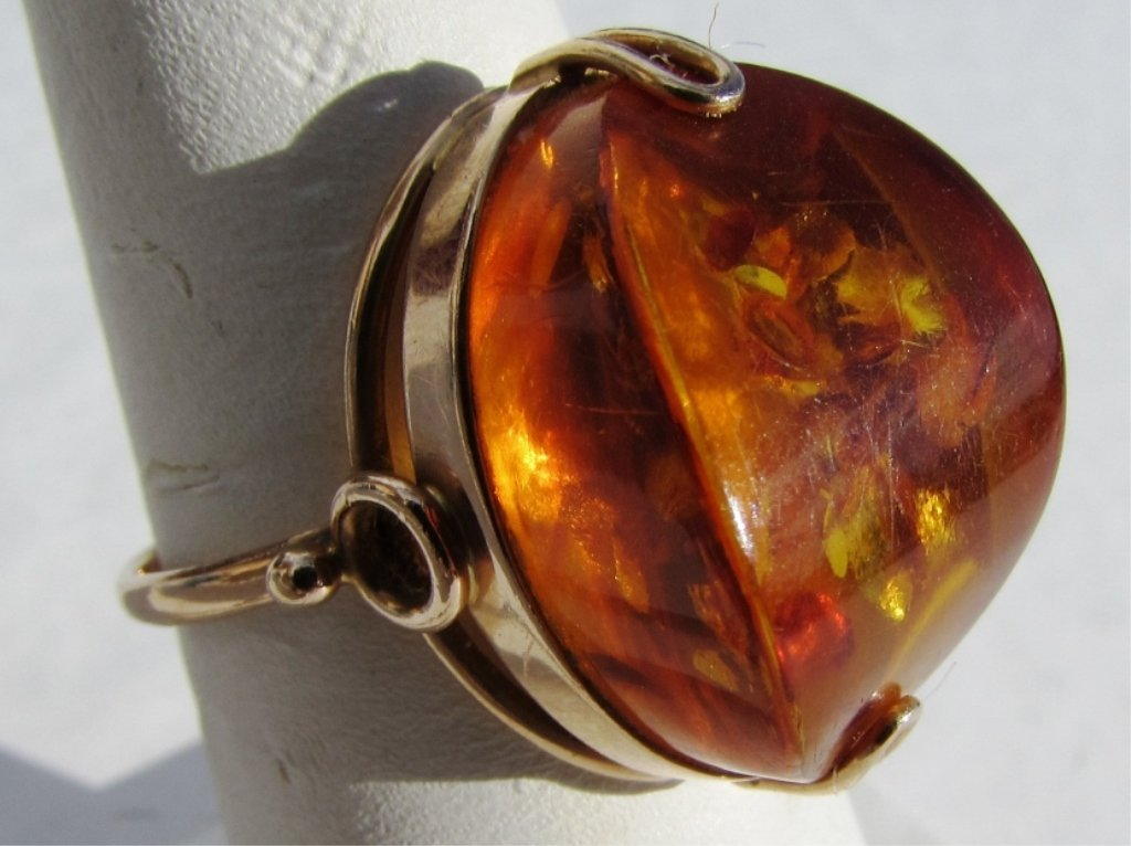 RUSSIAN AMBER 14k GOLD 583 RING SIZE 8.5 5.2 GRAMS - 2
