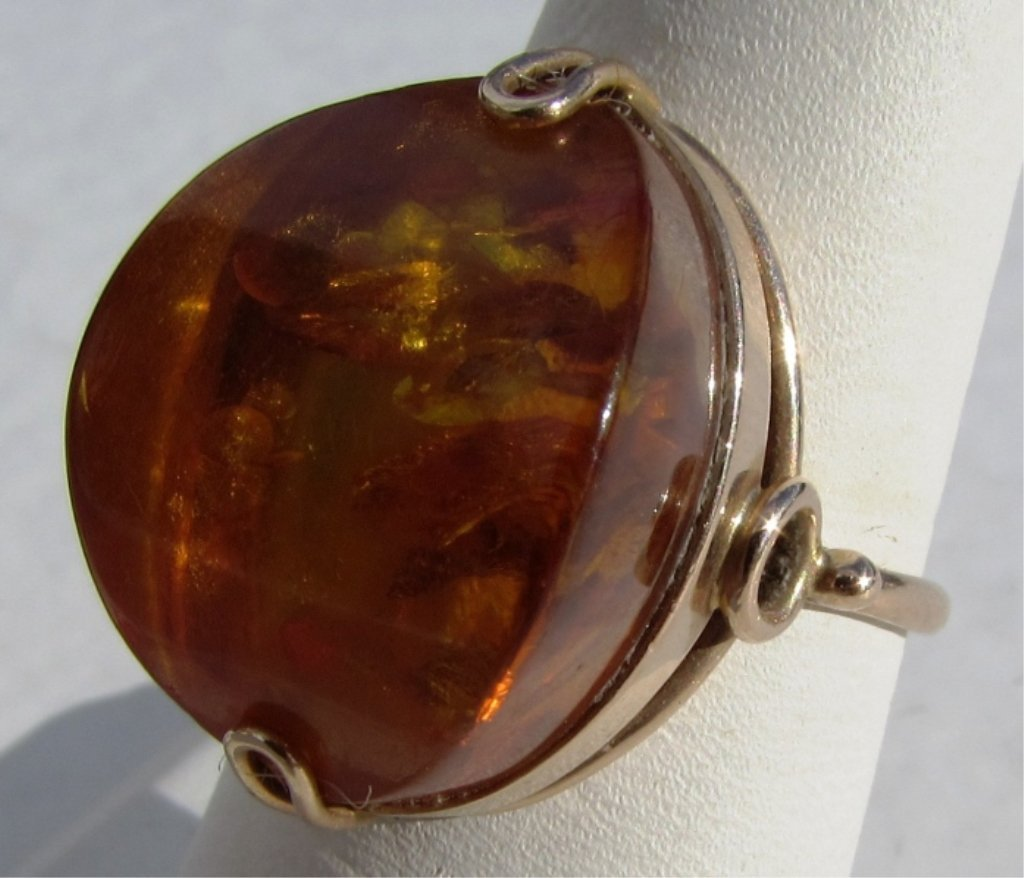 RUSSIAN AMBER 14k GOLD 583 RING SIZE 8.5 5.2 GRAMS - 3