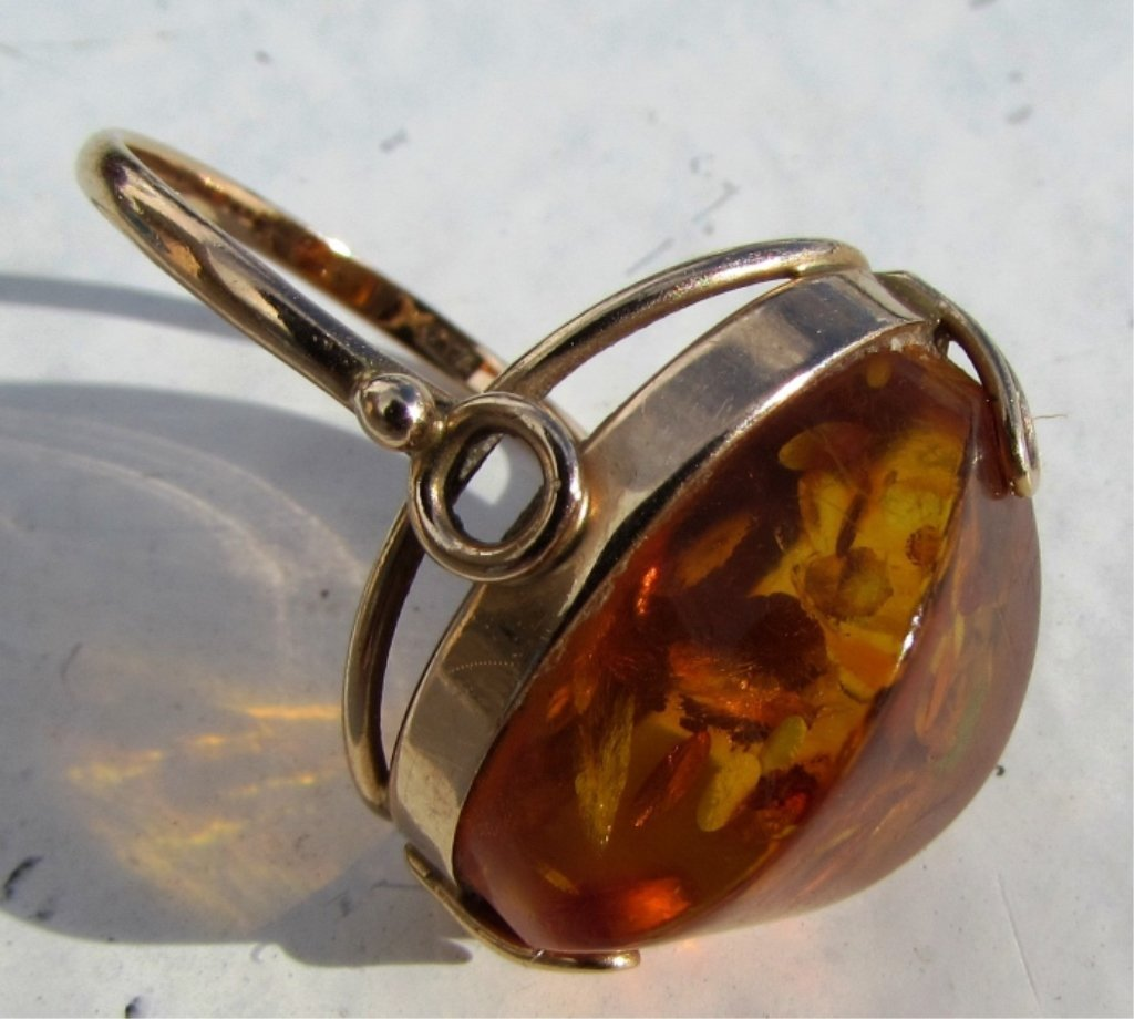 RUSSIAN AMBER 14k GOLD 583 RING SIZE 8.5 5.2 GRAMS - 4