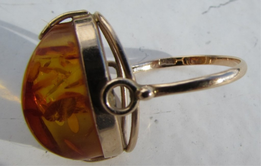 RUSSIAN AMBER 14k GOLD 583 RING SIZE 8.5 5.2 GRAMS - 6